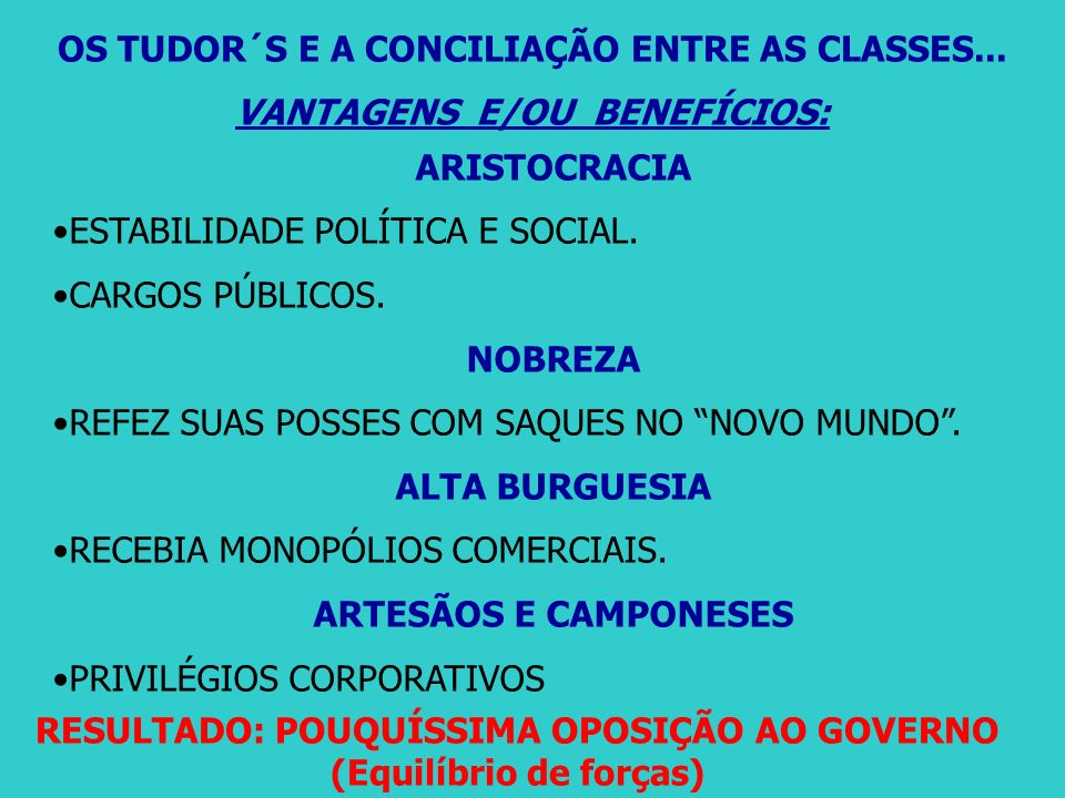 OS TUDOR´S E A CONCILIAÇÃO ENTRE AS CLASSES...