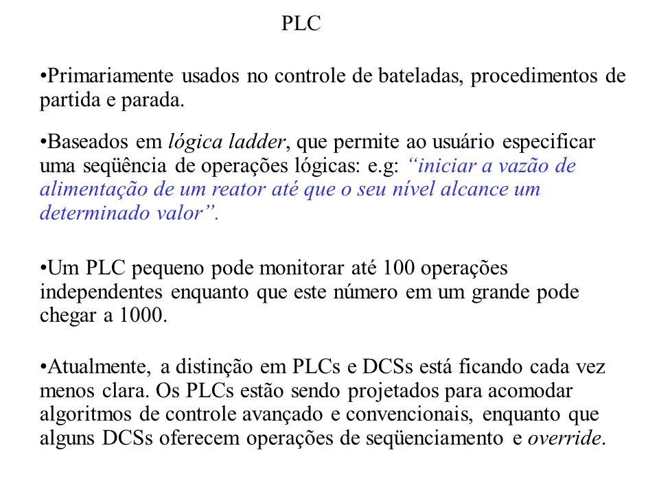 PLC Primariamente usados no controle de bateladas, procedimentos de partida e parada.