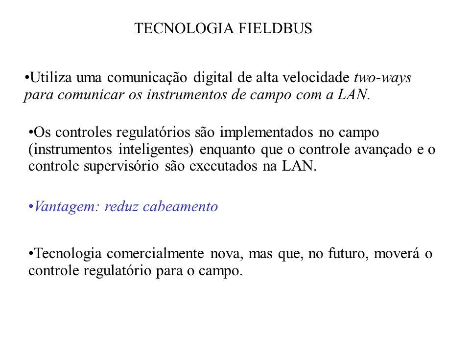 TECNOLOGIA FIELDBUS Utiliza uma comunicação digital de alta velocidade two-ways para comunicar os instrumentos de campo com a LAN.