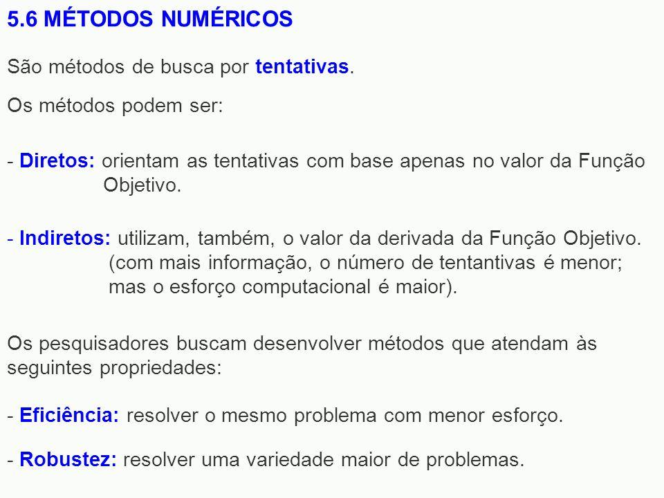5.6 MÉTODOS NUMÉRICOS São métodos de busca por tentativas.