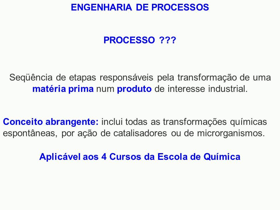 ENGENHARIA DE PROCESSOS Aplicável aos 4 Cursos da Escola de Química