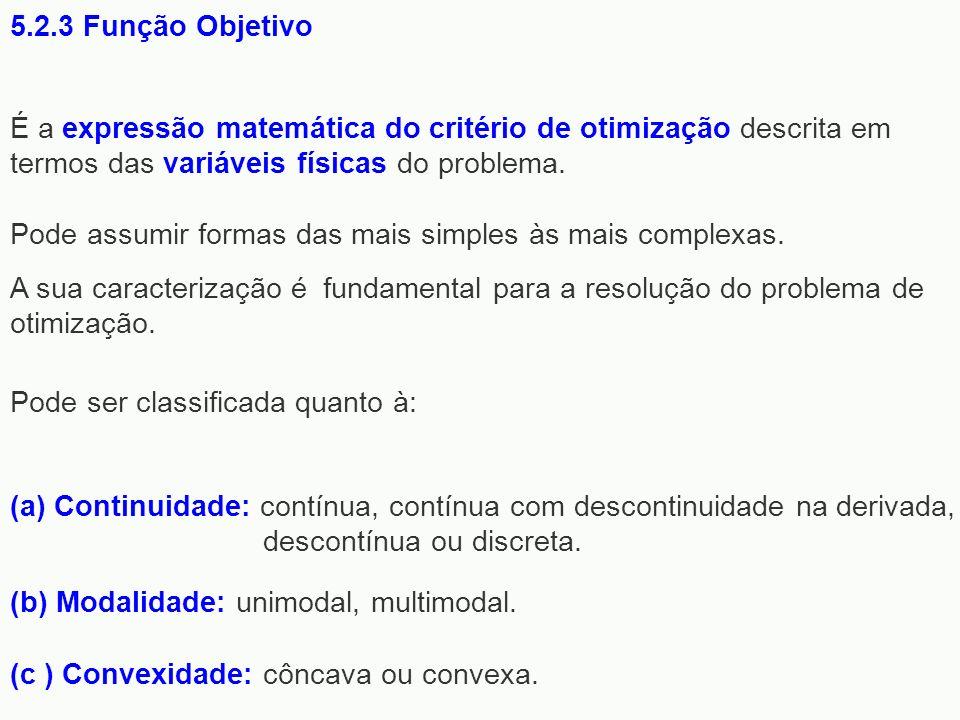 5.2.3 Função Objetivo É a expressão matemática do critério de otimização descrita em termos das variáveis físicas do problema.