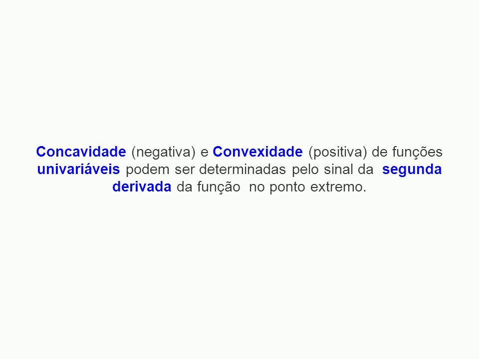 Concavidade (negativa) e Convexidade (positiva) de funções univariáveis podem ser determinadas pelo sinal da segunda derivada da função no ponto extremo.