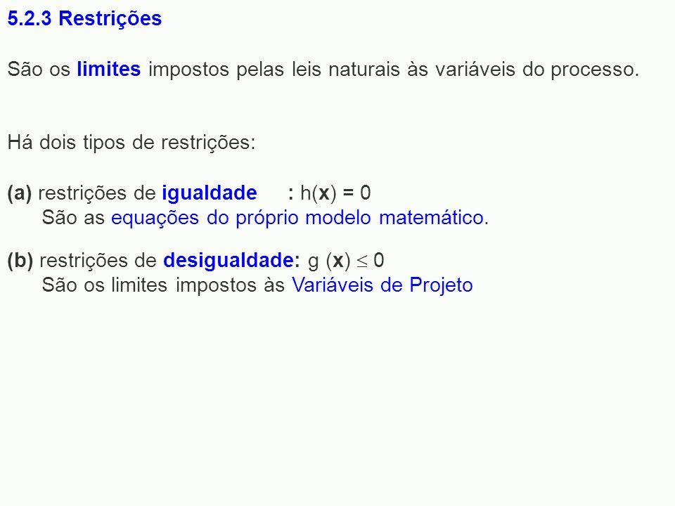 5.2.3 Restrições São os limites impostos pelas leis naturais às variáveis do processo. Há dois tipos de restrições: