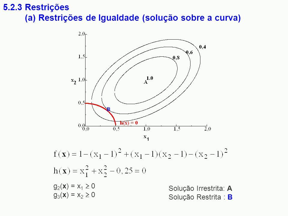 (a) Restrições de Igualdade (solução sobre a curva)