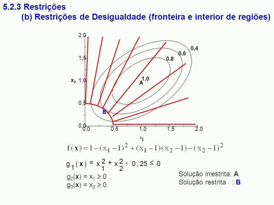 (b) Restrições de Desigualdade (fronteira e interior de regiões)
