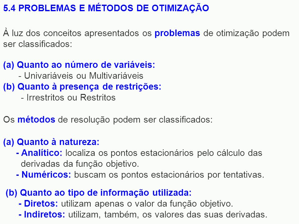5.4 PROBLEMAS E MÉTODOS DE OTIMIZAÇÃO