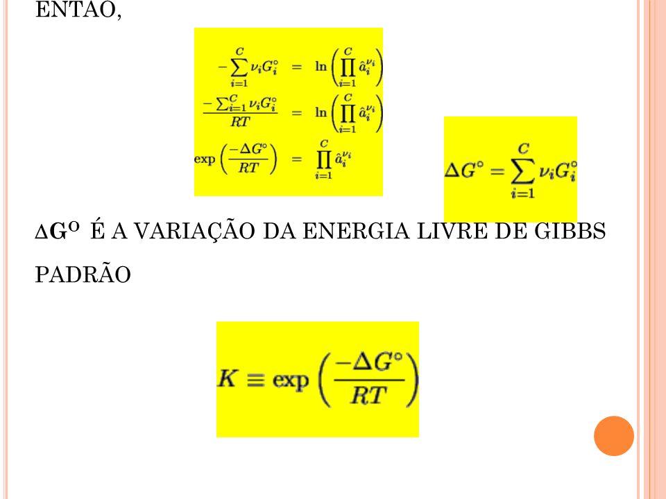 ENTÃO, GO É A VARIAÇÃO DA ENERGIA LIVRE DE GIBBS PADRÃO