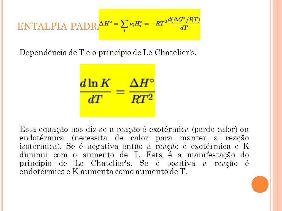 ENTALPIA PADRÃO Dependência de T e o princípio de Le Chatelier s.