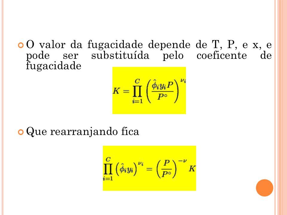 O valor da fugacidade depende de T, P, e x, e pode ser substituída pelo coeficente de fugacidade