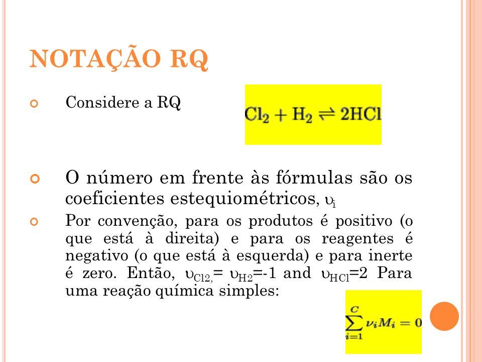 NOTAÇÃO RQ Considere a RQ. O número em frente às fórmulas são os coeficientes estequiométricos, i.
