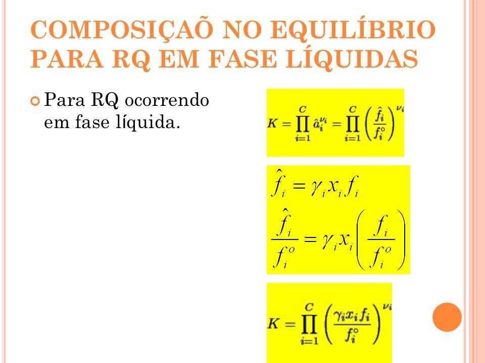 COMPOSIÇAÕ NO EQUILÍBRIO PARA RQ EM FASE LÍQUIDAS