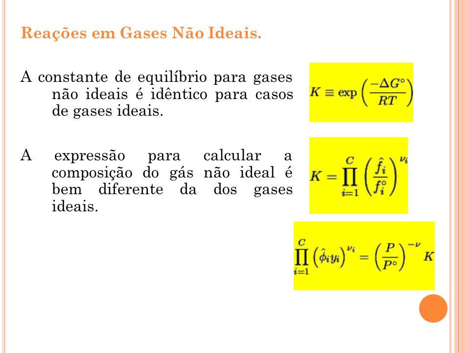 Reações em Gases Não Ideais.