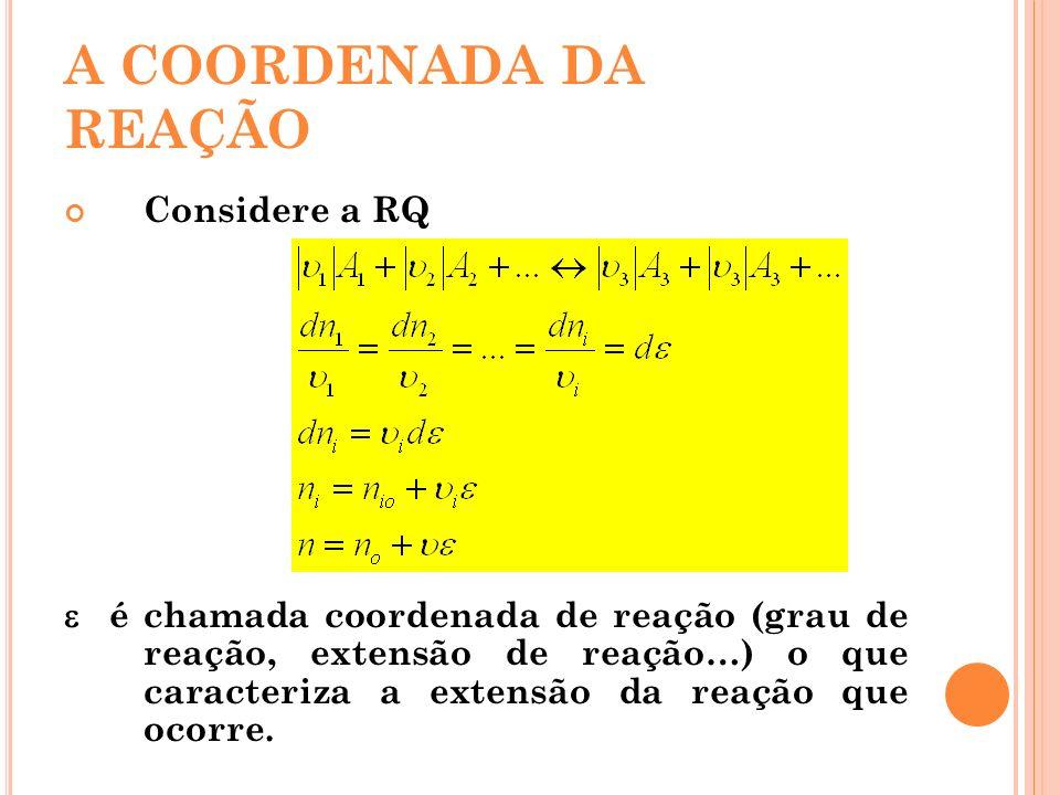 A COORDENADA DA REAÇÃO Considere a RQ