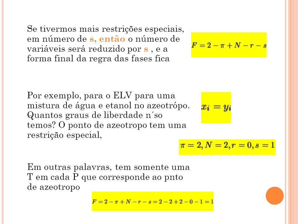 Se tivermos mais restrições especiais, em número de s, então o número de variáveis será reduzido por s , e a forma final da regra das fases fica