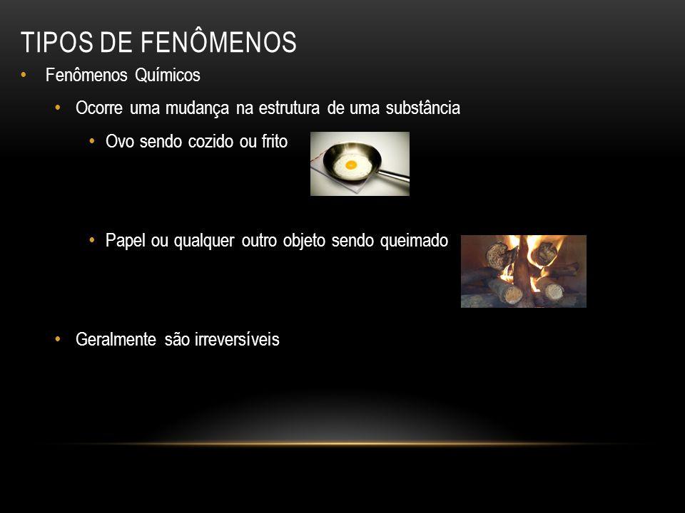 TIPOS DE FENÔMENOS Fenômenos Químicos