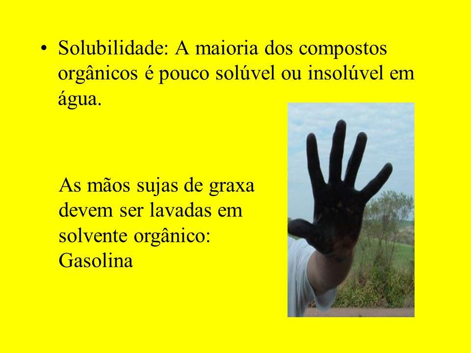 Solubilidade: A maioria dos compostos orgânicos é pouco solúvel ou insolúvel em água.