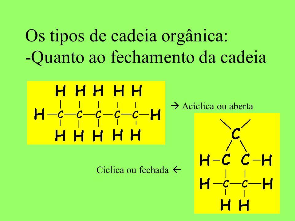 Os tipos de cadeia orgânica: -Quanto ao fechamento da cadeia