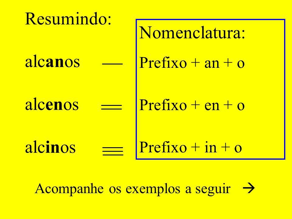 Resumindo: alcanos alcenos alcinos