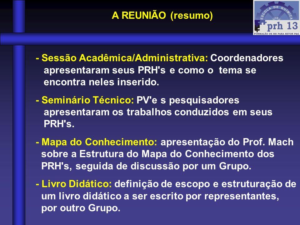 A REUNIÃO (resumo) - Sessão Acadêmica/Administrativa: Coordenadores apresentaram seus PRH s e como o tema se encontra neles inserido.