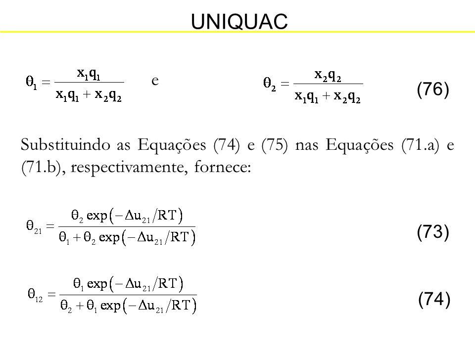 UNIQUAC e. (76) Substituindo as Equações (74) e (75) nas Equações (71.a) e (71.b), respectivamente, fornece: