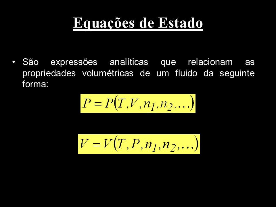 Equações de Estado São expressões analíticas que relacionam as propriedades volumétricas de um fluido da seguinte forma: