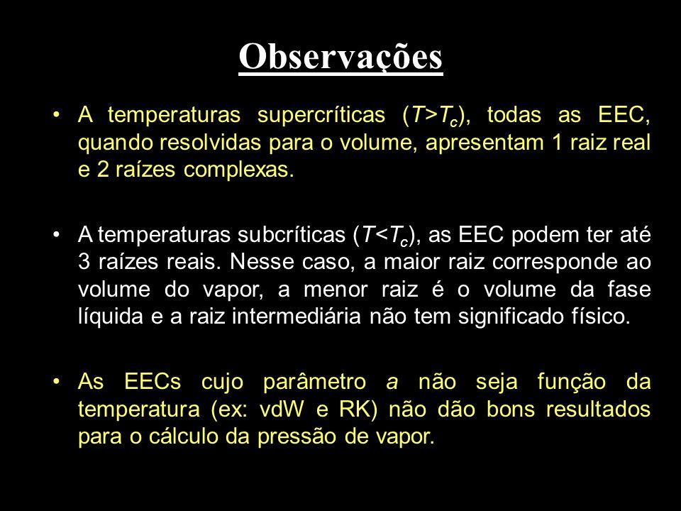 Observações A temperaturas supercríticas (T>Tc), todas as EEC, quando resolvidas para o volume, apresentam 1 raiz real e 2 raízes complexas.