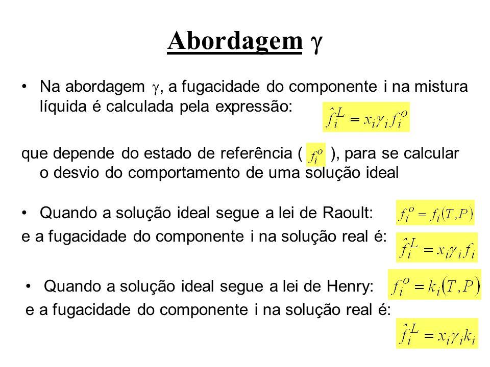 Abordagem Na abordagem , a fugacidade do componente i na mistura líquida é calculada pela expressão: