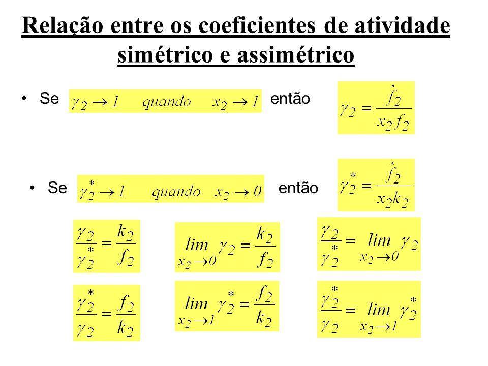 Relação entre os coeficientes de atividade simétrico e assimétrico