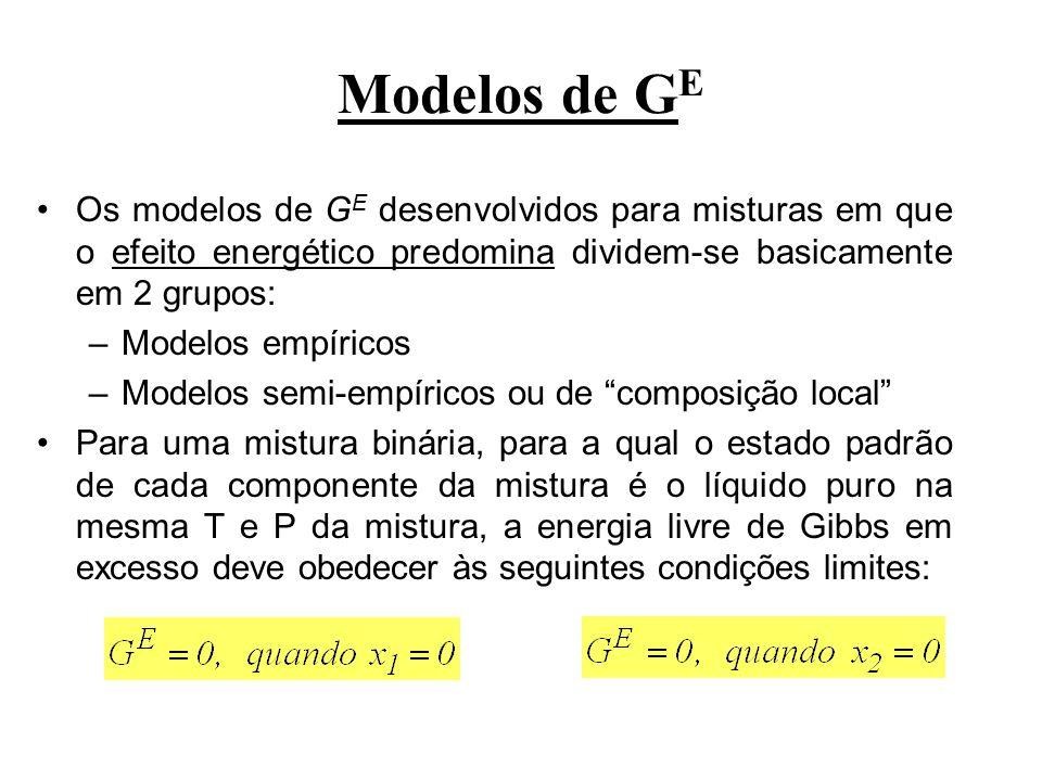 Modelos de GEOs modelos de GE desenvolvidos para misturas em que o efeito energético predomina dividem-se basicamente em 2 grupos: