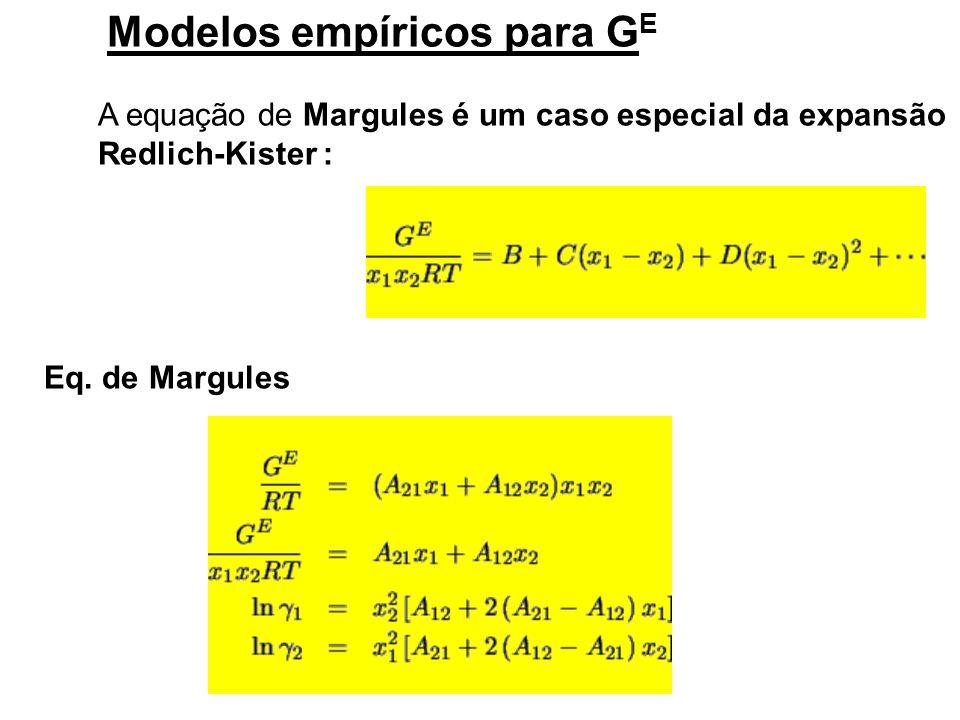 Modelos empíricos para GE A equação de Margules é um caso especial da expansão Redlich-Kister: