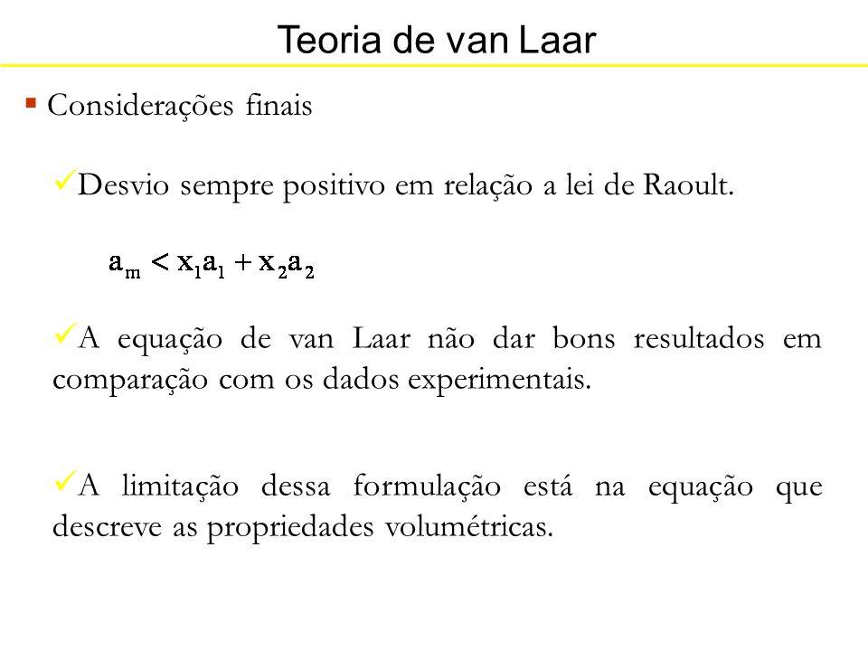 Teoria de van Laar Considerações finais