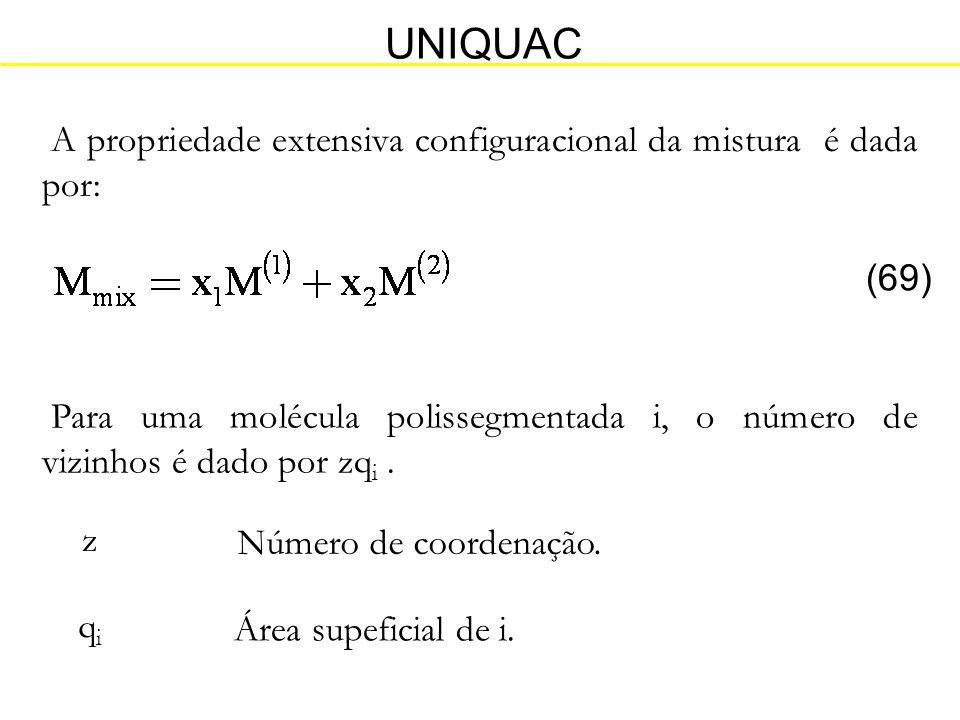 UNIQUAC A propriedade extensiva configuracional da mistura é dada por: