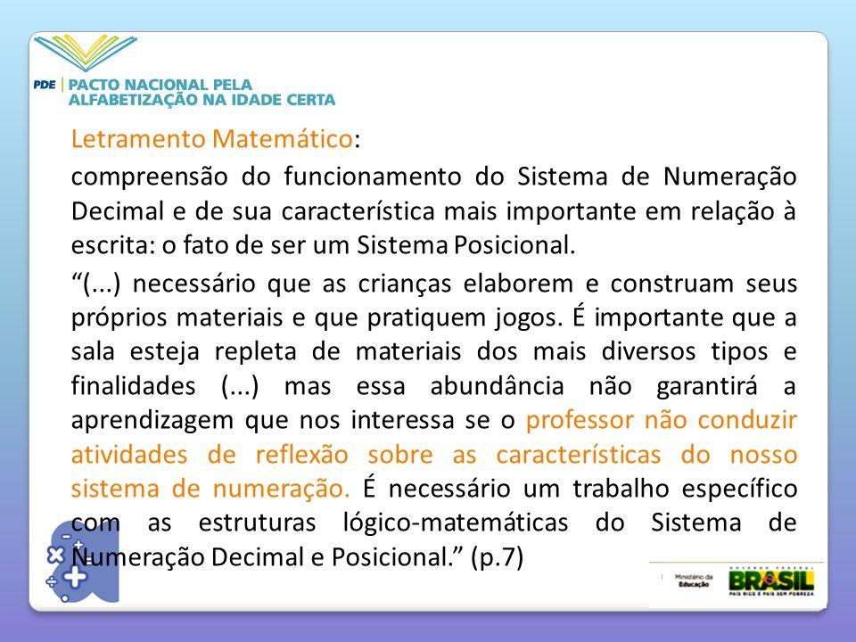 Letramento Matemático: compreensão do funcionamento do Sistema de Numeração Decimal e de sua característica mais importante em relação à escrita: o fato de ser um Sistema Posicional.