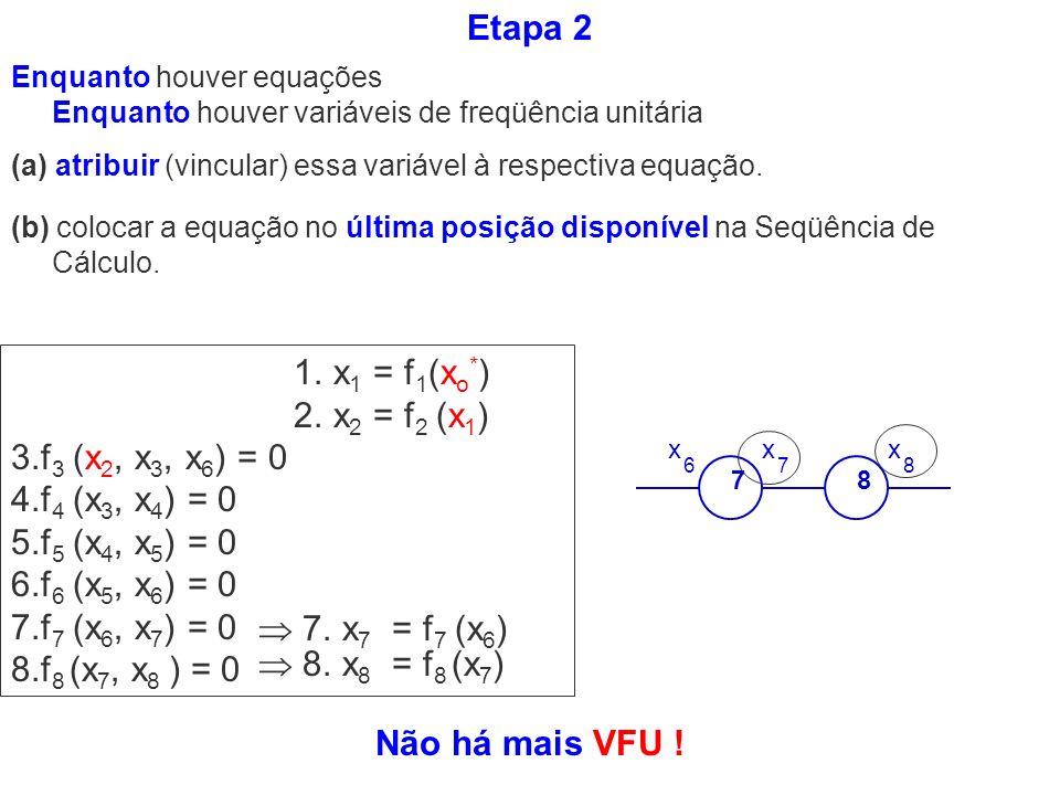 Etapa 2 1. x1 = f1(xo*) 2. x2 = f2 (x1) 3.f3 (x2, x3, x6) = 0