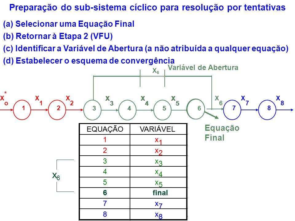 Preparação do sub-sistema cíclico para resolução por tentativas