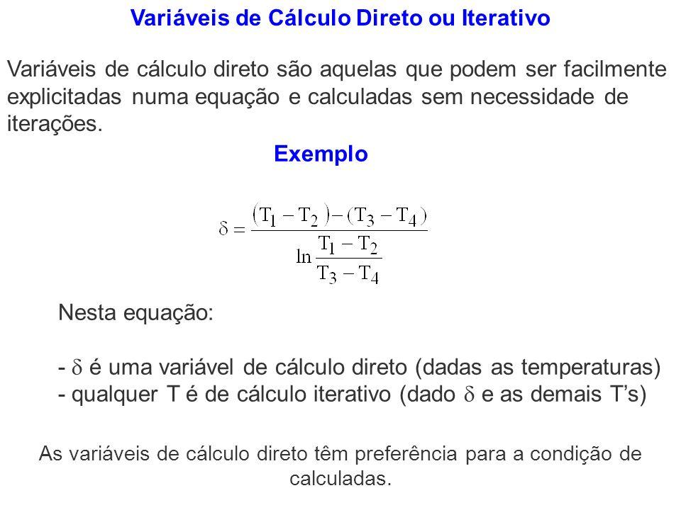 Variáveis de Cálculo Direto ou Iterativo
