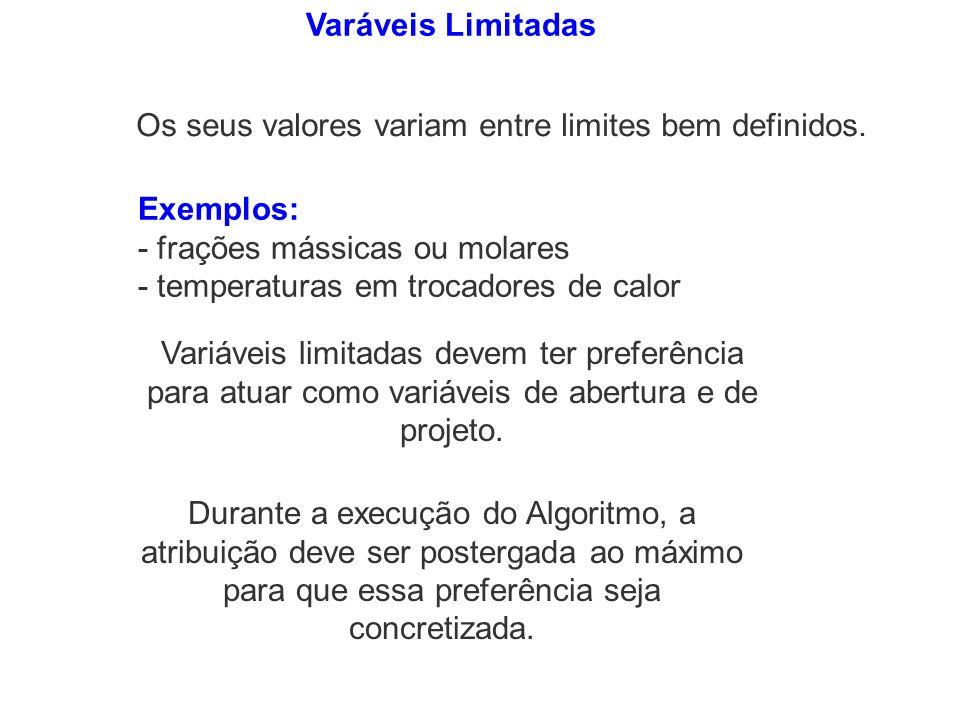 Varáveis Limitadas Os seus valores variam entre limites bem definidos. Exemplos: - frações mássicas ou molares.