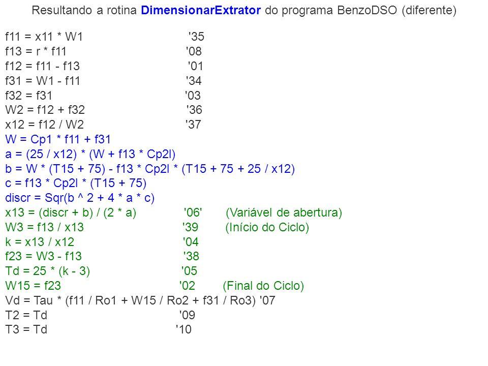 Resultando a rotina DimensionarExtrator do programa BenzoDSO (diferente)