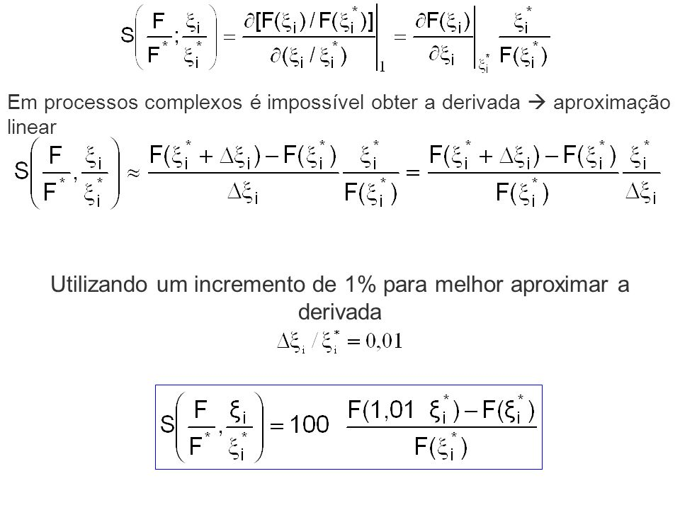 Utilizando um incremento de 1% para melhor aproximar a derivada