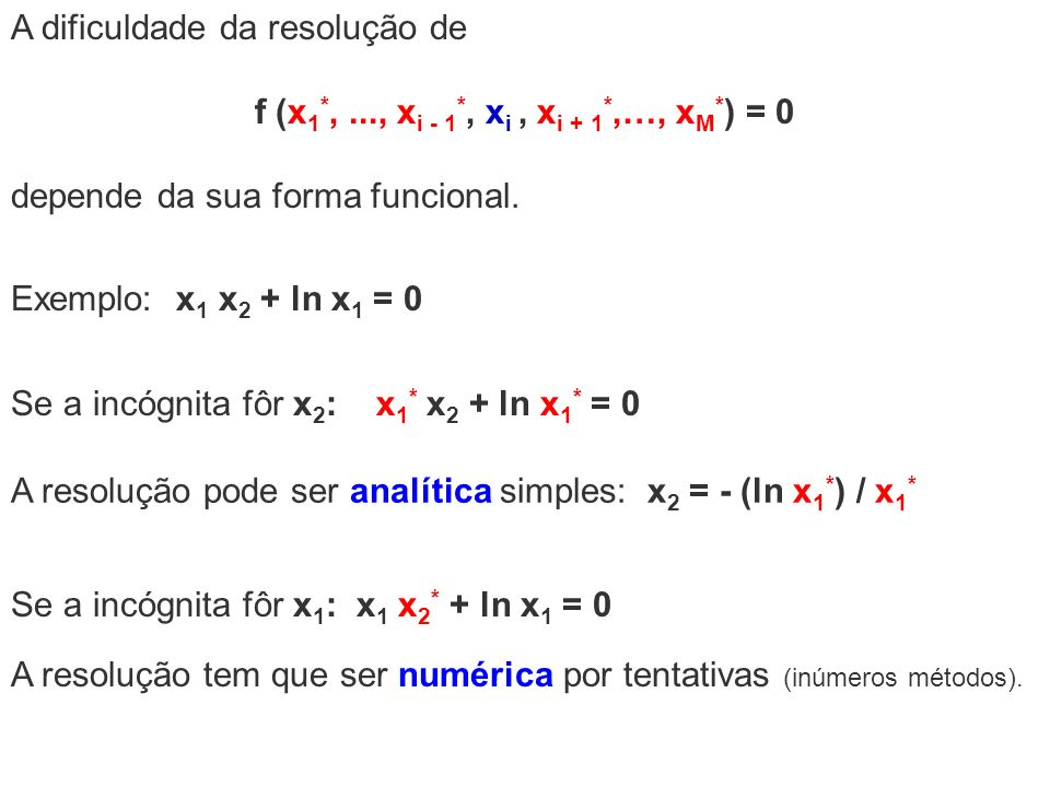 f (x1*, ..., xi - 1*, xi , xi + 1*,…, xM*) = 0