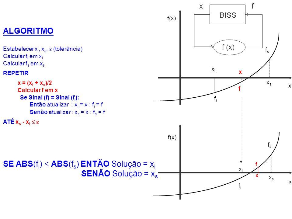 SE ABS(fi) < ABS(fs) ENTÃO Solução = xi SENÃO Solução = xs