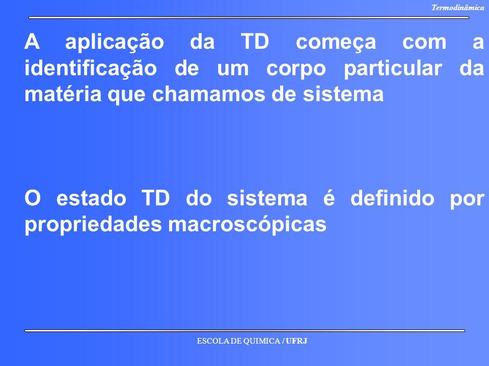 A aplicação da TD começa com a identificação de um corpo particular da matéria que chamamos de sistema