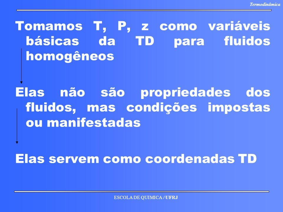 Tomamos T, P, z como variáveis básicas da TD para fluidos homogêneos