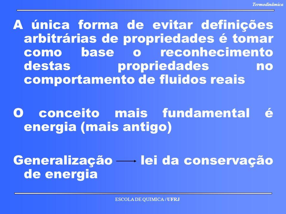 A única forma de evitar definições arbitrárias de propriedades é tomar como base o reconhecimento destas propriedades no comportamento de fluidos reais