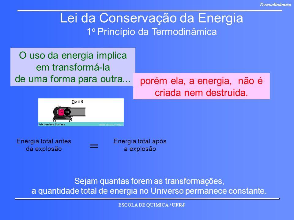 = Lei da Conservação da Energia 1o Princípio da Termodinâmica