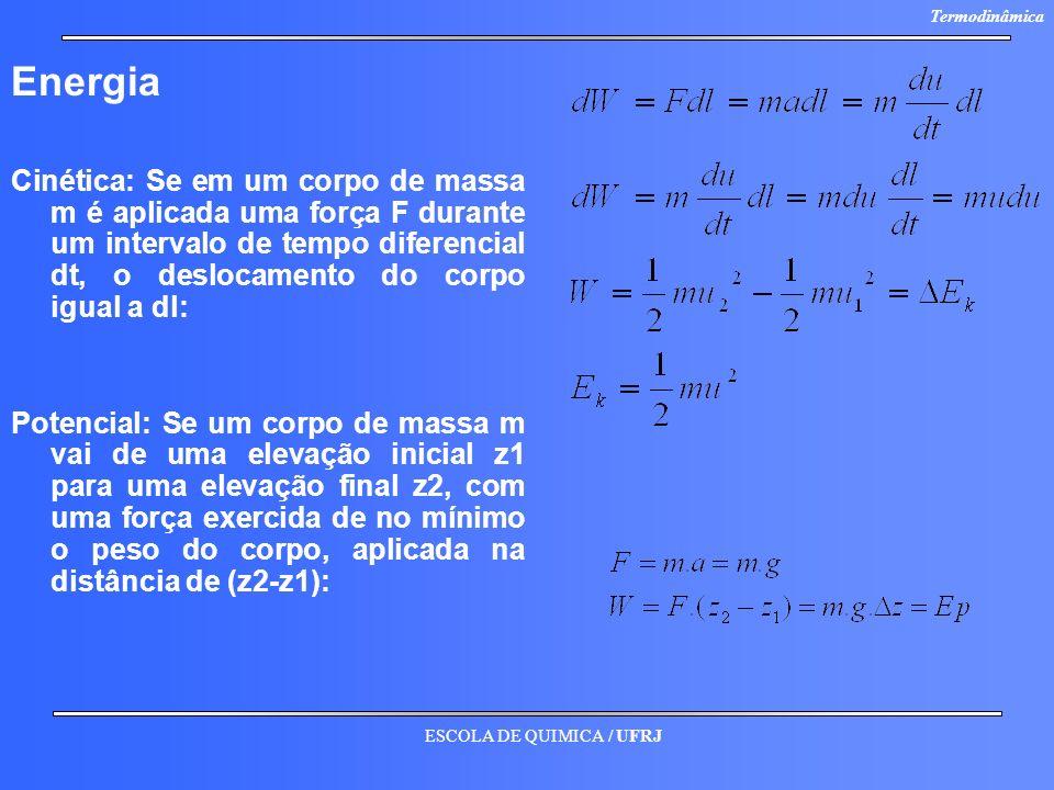 Energia Cinética: Se em um corpo de massa m é aplicada uma força F durante um intervalo de tempo diferencial dt, o deslocamento do corpo igual a dl: