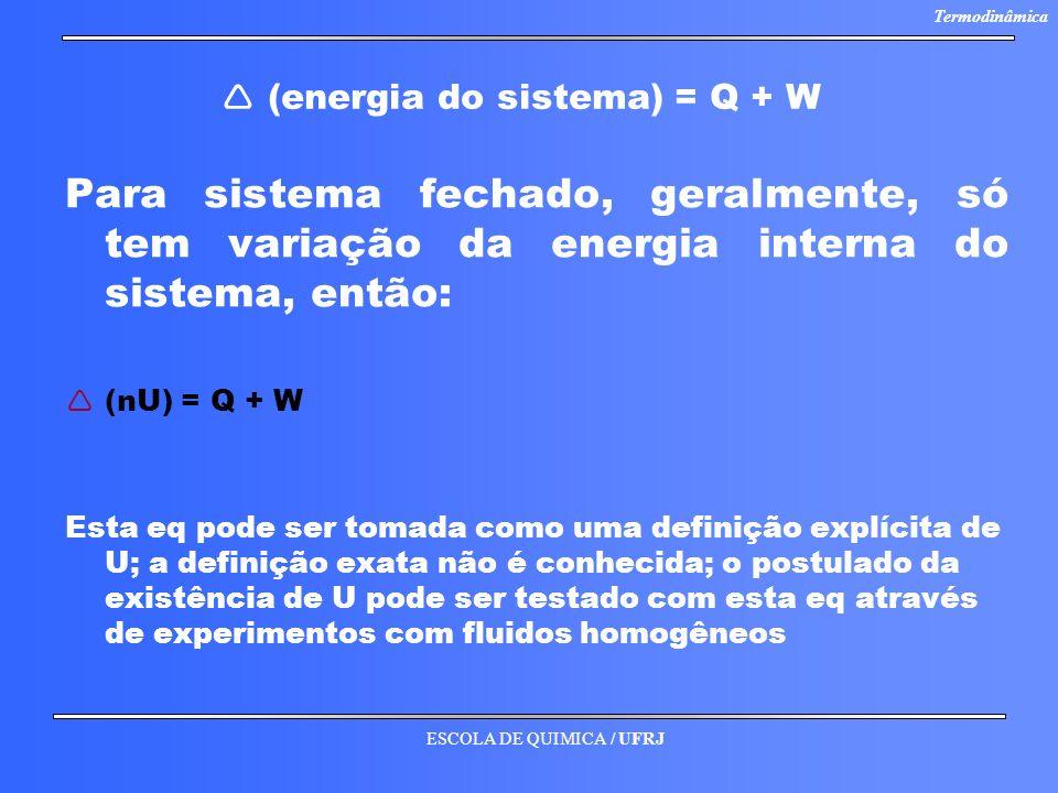  (energia do sistema) = Q + W