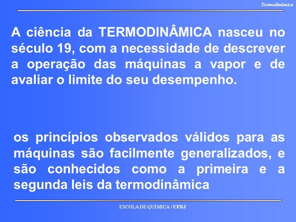 A ciência da TERMODINÂMICA nasceu no século 19, com a necessidade de descrever a operação das máquinas a vapor e de avaliar o limite do seu desempenho.