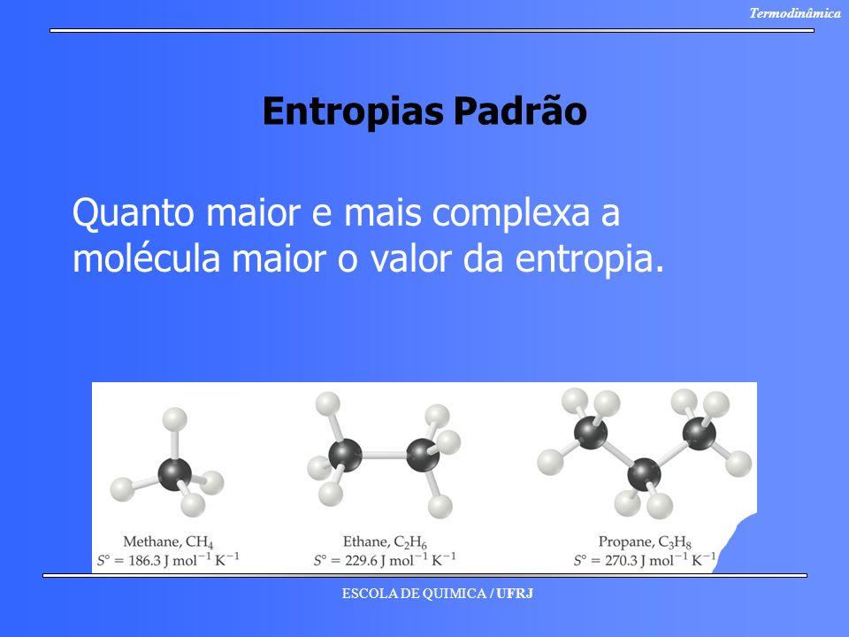 Entropias Padrão Quanto maior e mais complexa a molécula maior o valor da entropia.